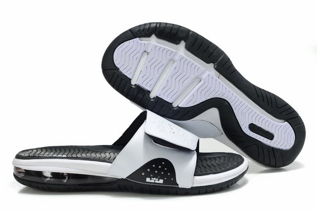 Nike Lebron James Slide Elite Air Cushion Slippers White Black